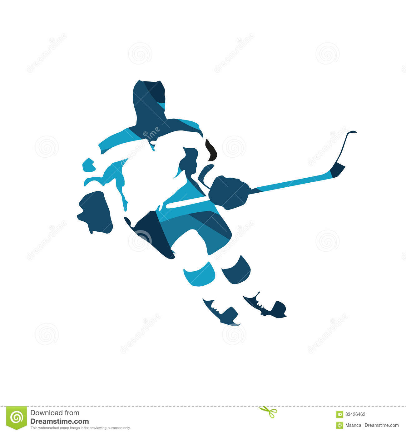 Ice Hockey Player, Abstract Blue Silhouette Stock Vector