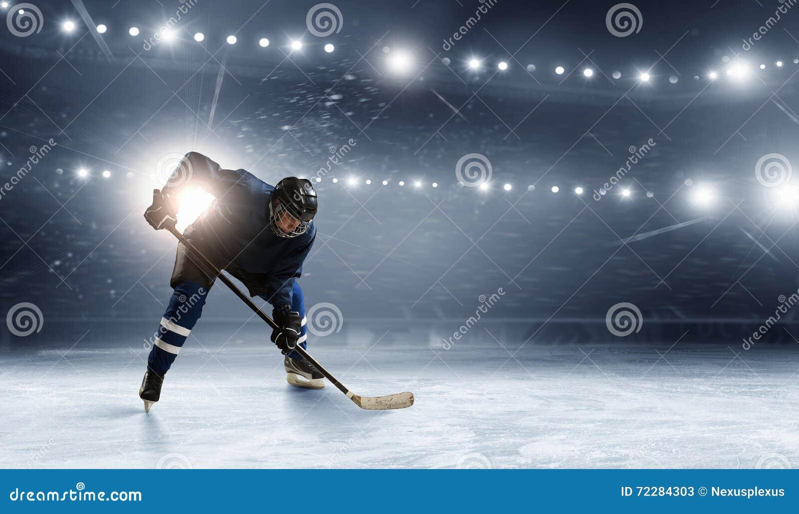 Ice hockey player at rink