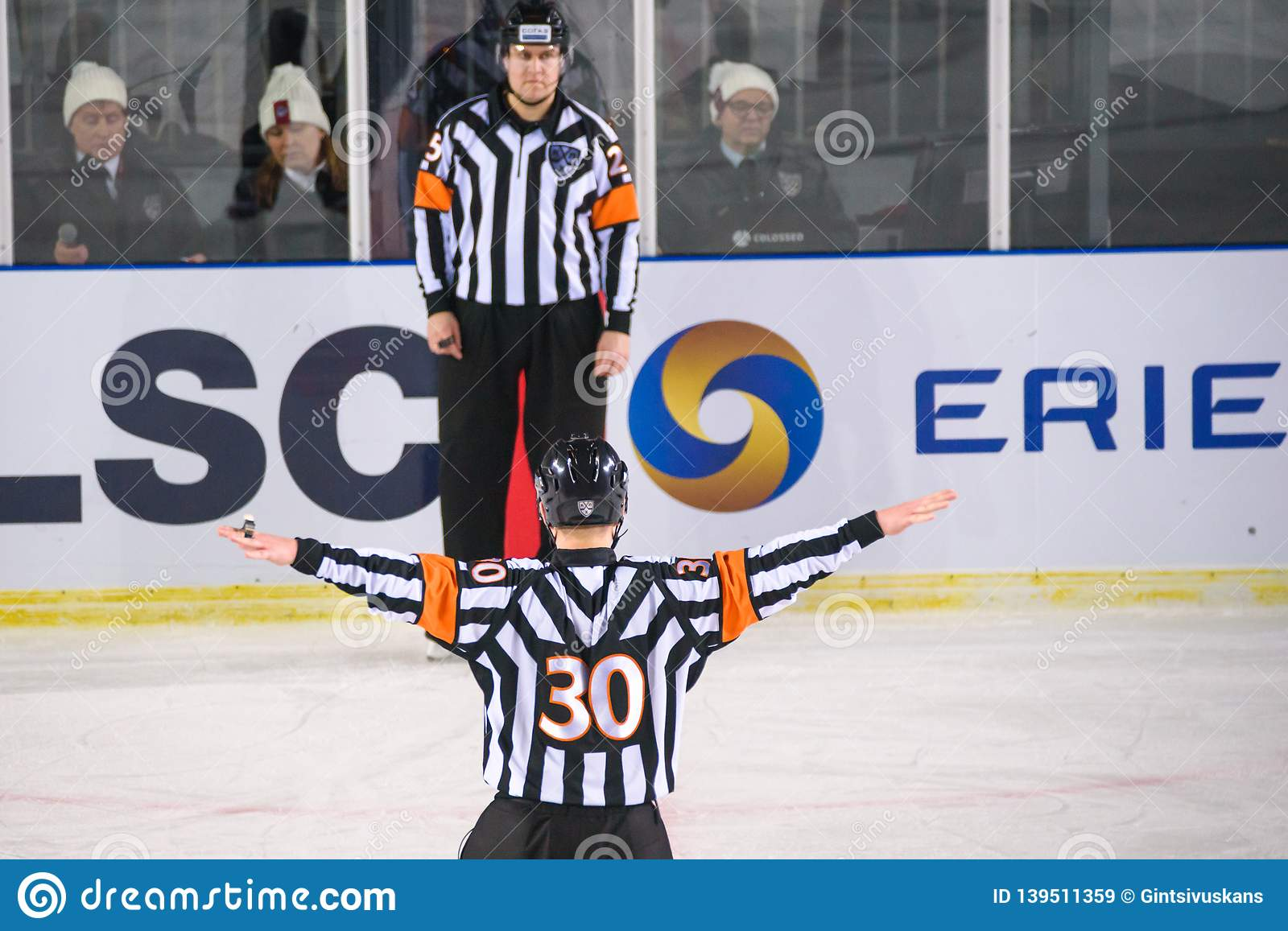 Ice Hockey Referee Shows No Goal Sign Editorial Stock Image