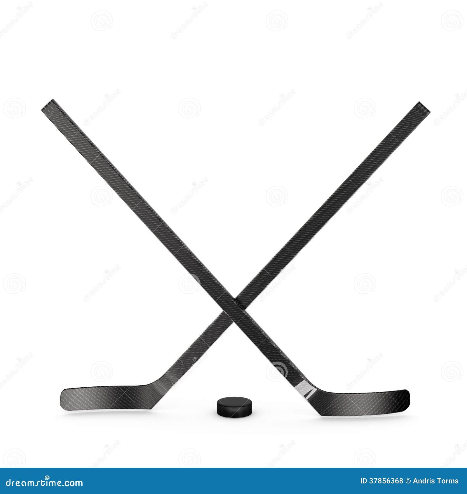 ice hockey sticks and puck stock photos image 5647683