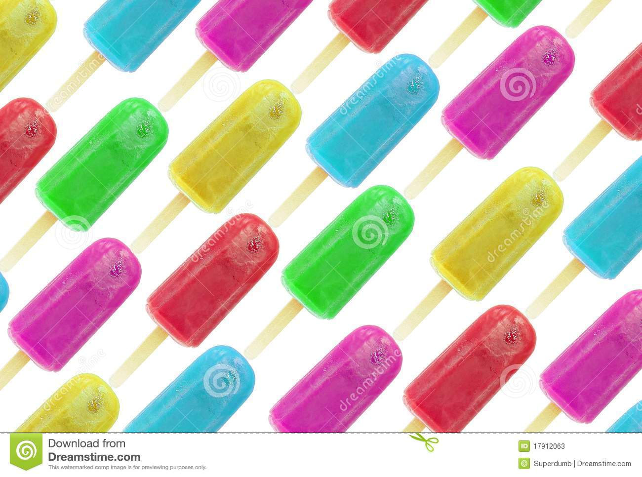 Ice lollies in different colors and flavors isolated over white ...