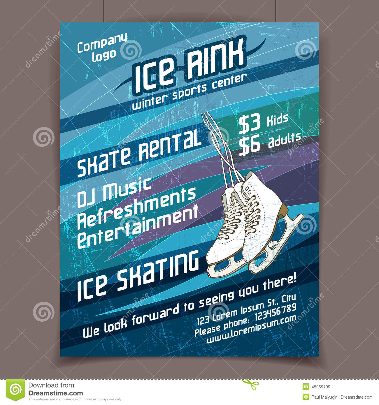 Ice rink advertising poster on scratched ice winter vector background.