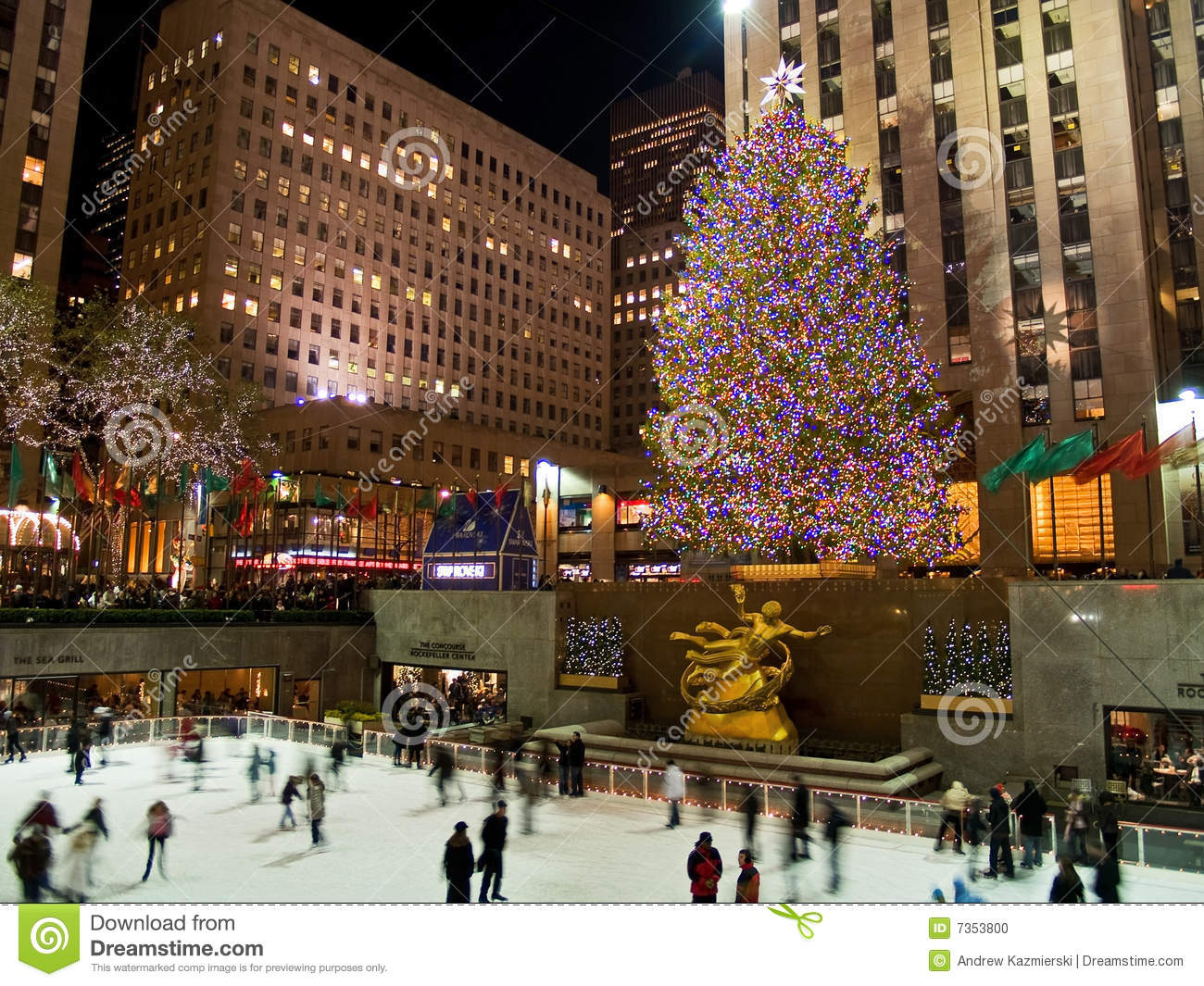 Ice Rink And Tree Rockefeller Center 08 5 Editorial Image
