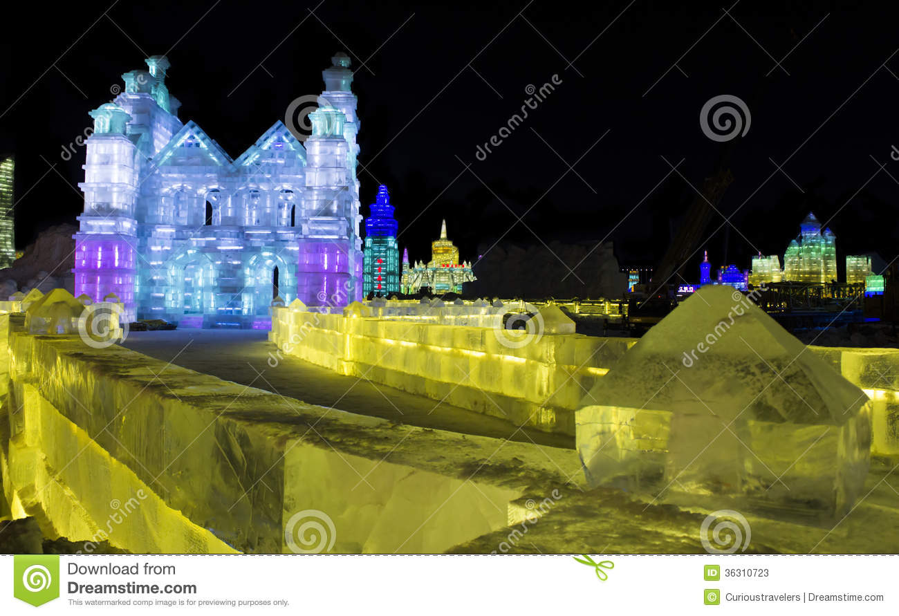 Ice Sculptures at the Harbin Ice and Snow World in Harbin China