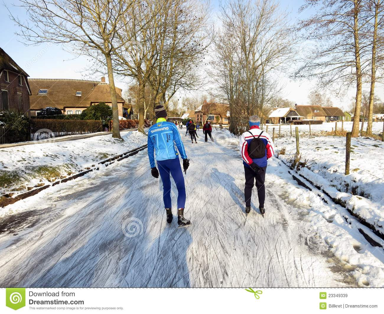Ice Skaters In Winter Landscape In Snowy Holland Editorial Stock