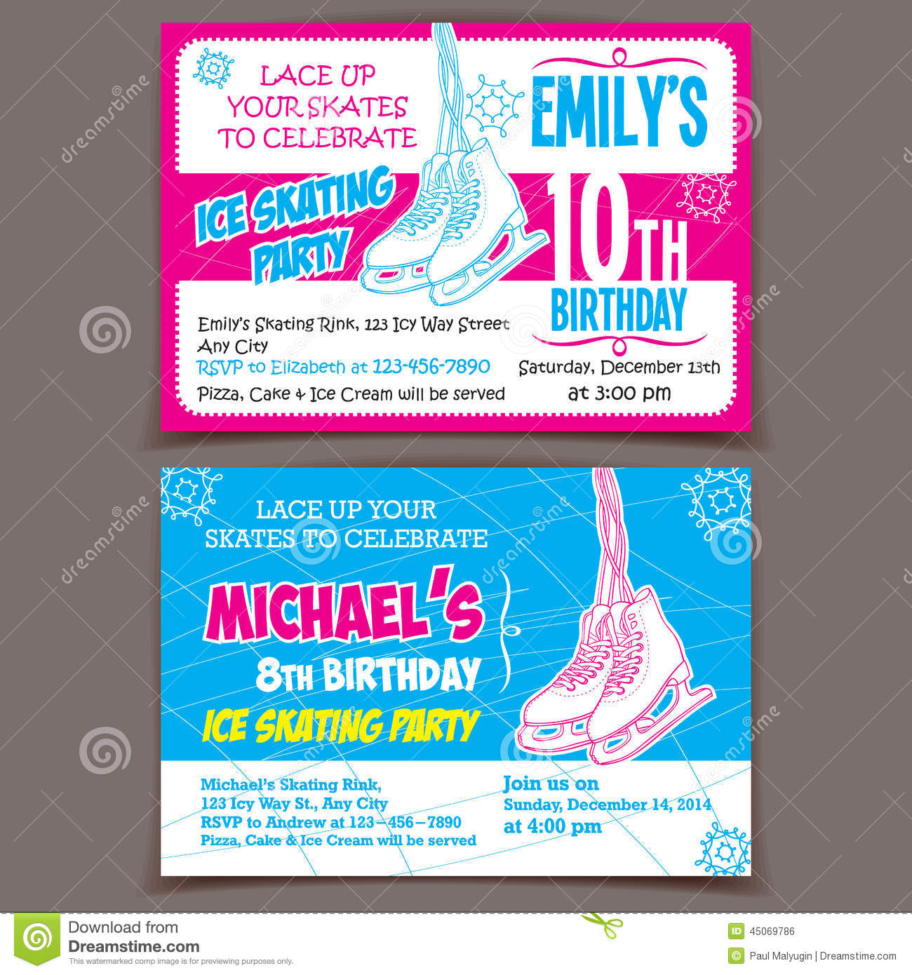 Ice Skating Birthday Party Invitation Cards Stock Vector - Image ...