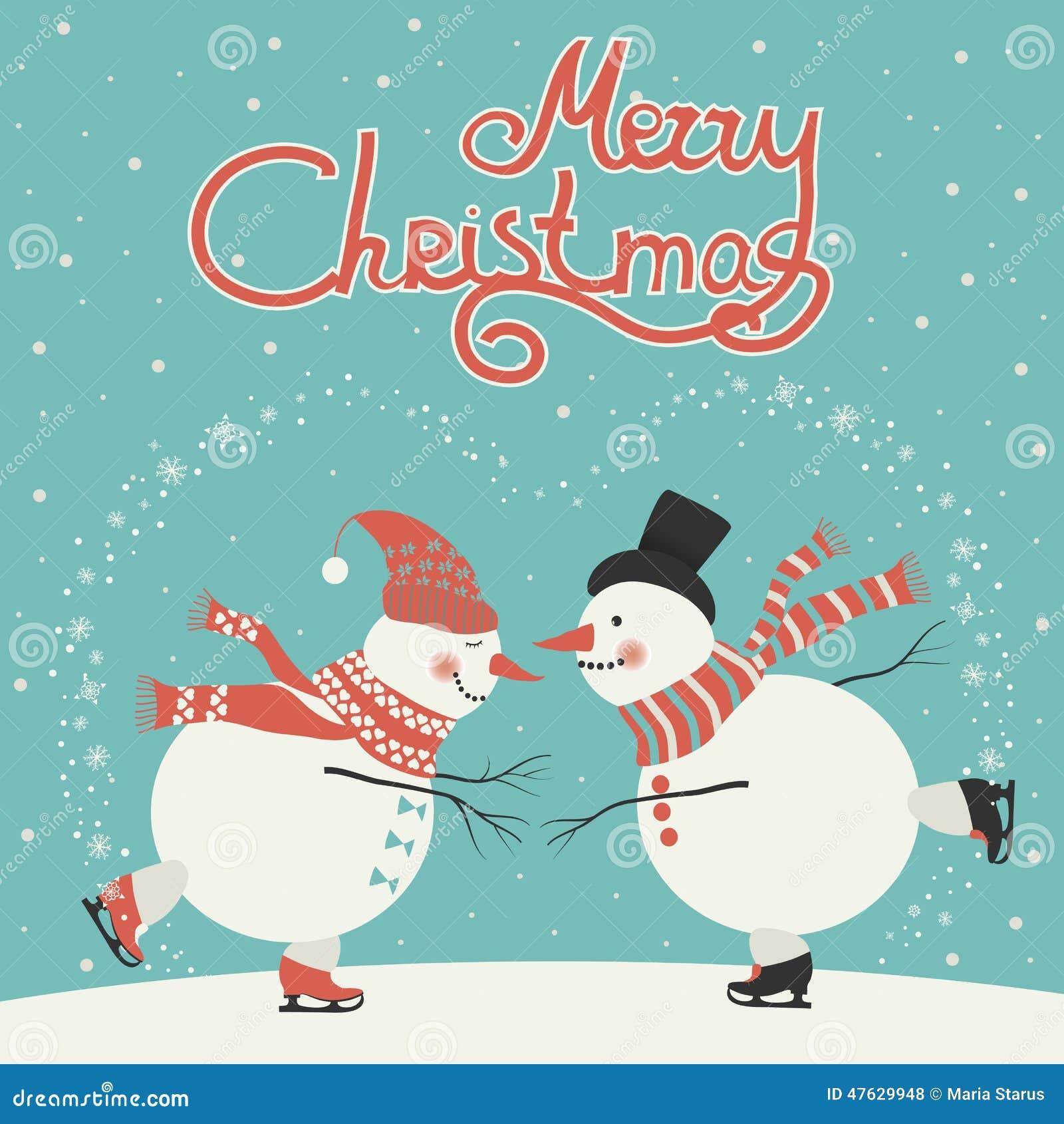Ice Skating Cartoon Snowmen Stock Vector Image 47629948