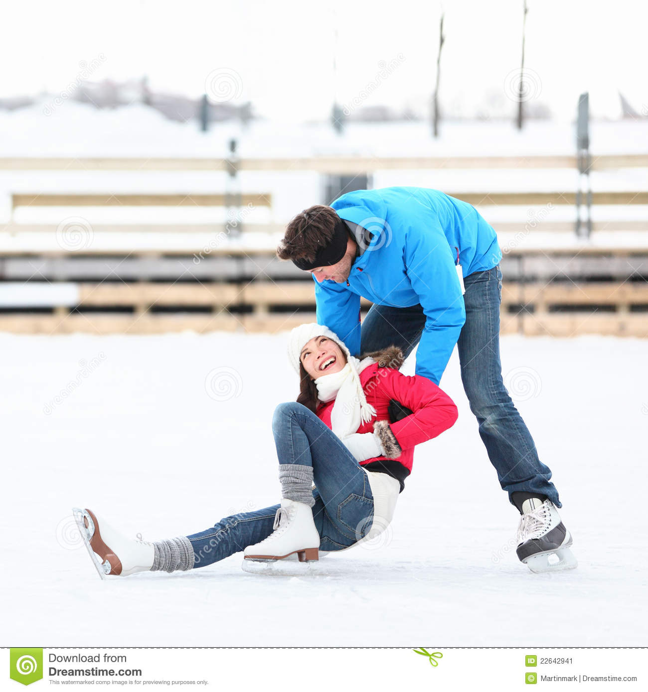 Ice skating couple winter fun