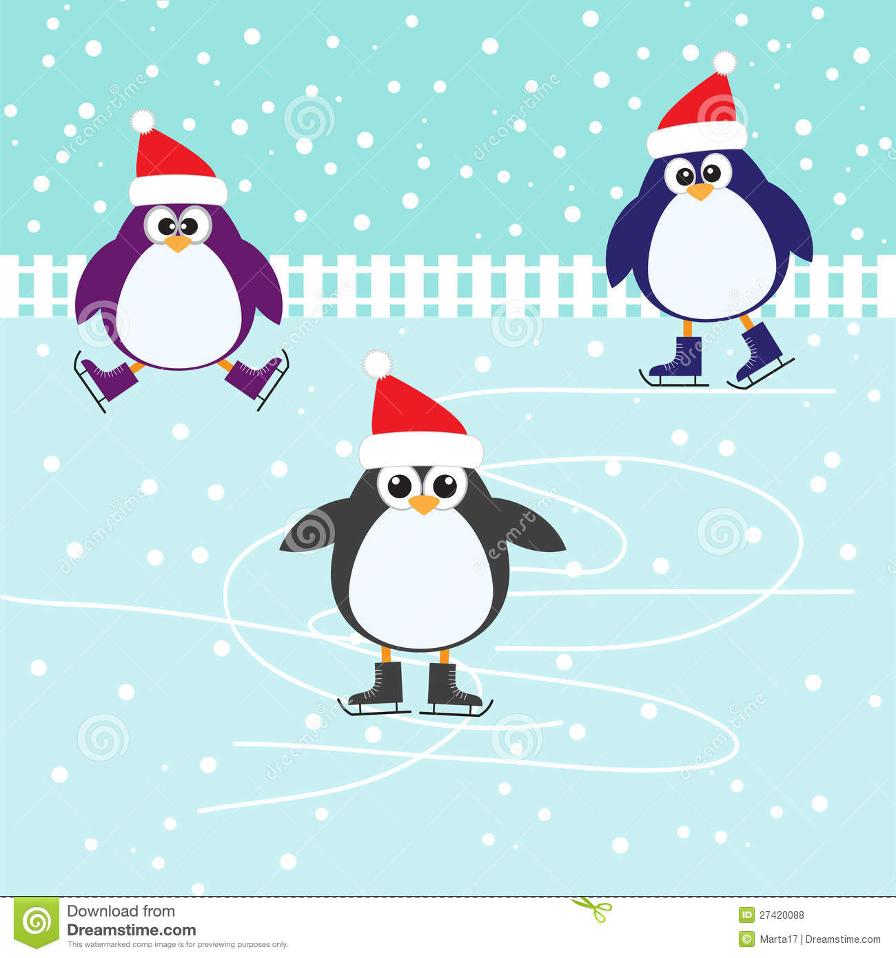 Ice Skating Cute Penguins Royalty Free Stock Photos