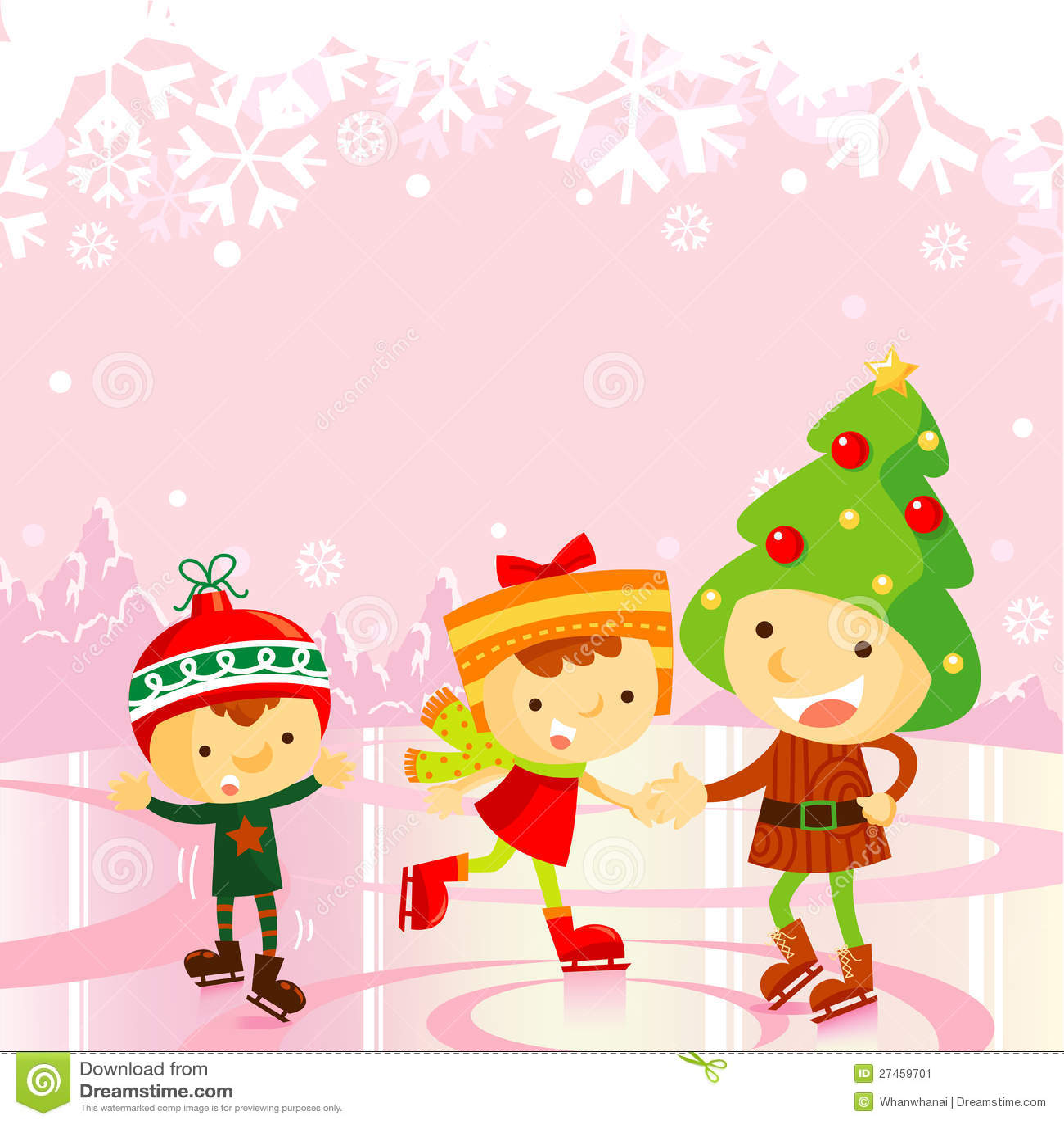Christmas Ice Skating Rink Decoration: Ice Skating Kids:christmas Holiday Stock Vector