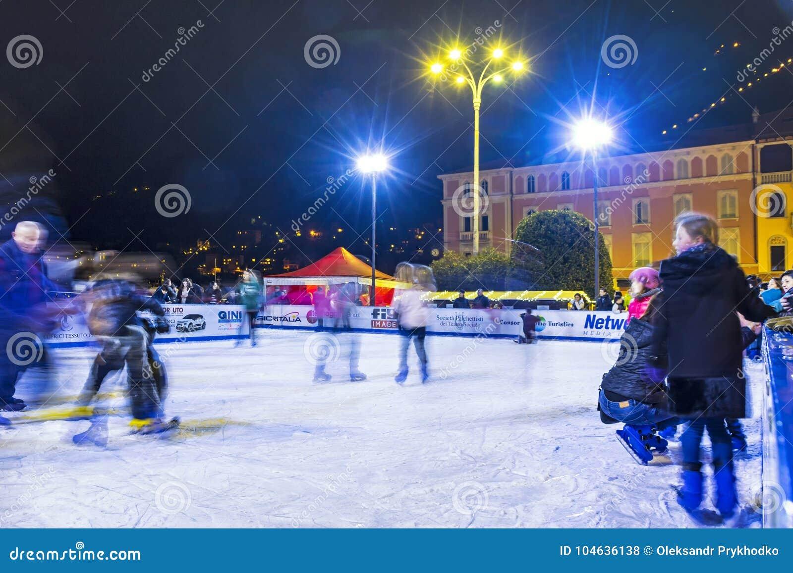 Ice skating rink at Christmas fair in Como, Italy