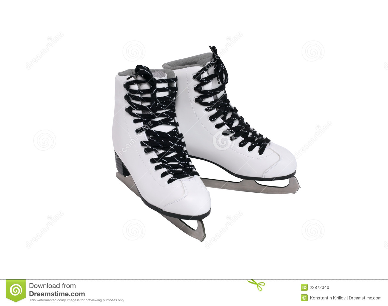 New white female ice skating shoes. Isolated on white with clipping