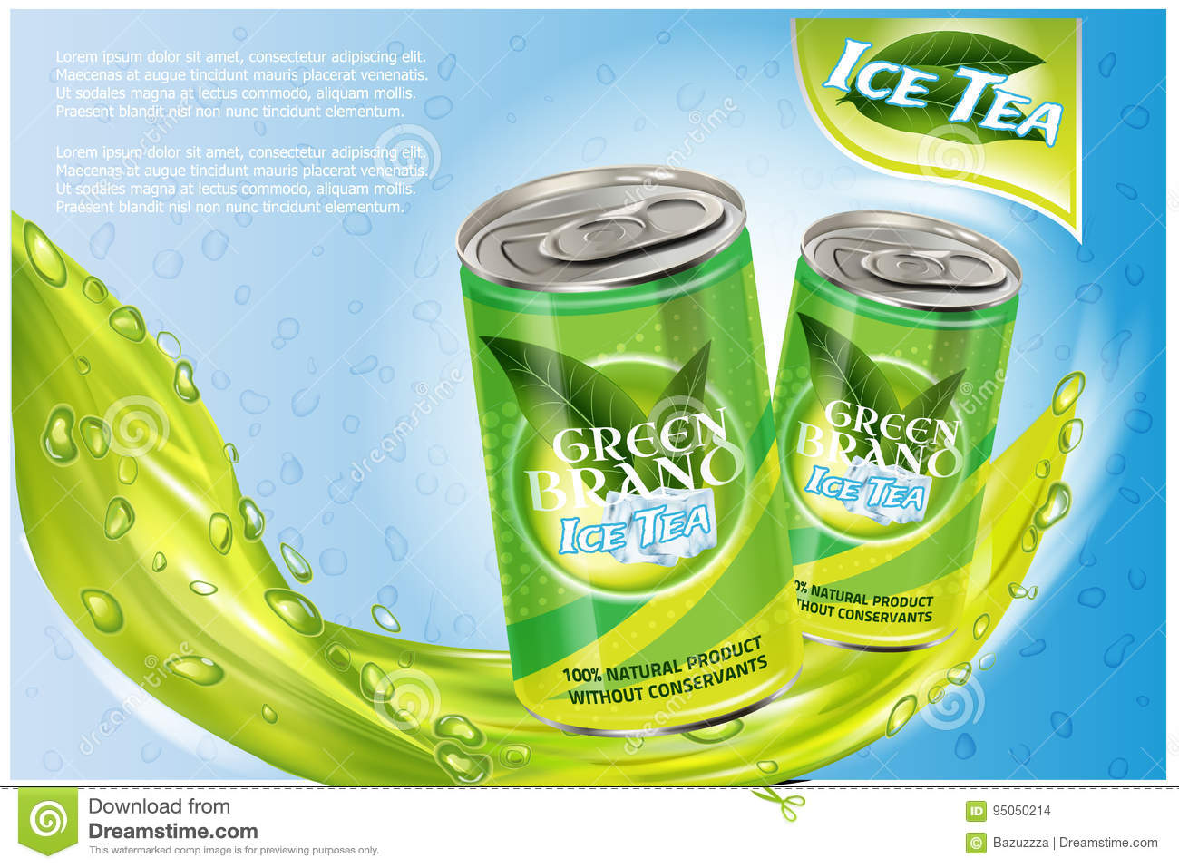 download ice tea products ad vector 3d illustration soft drink aluminium can template design