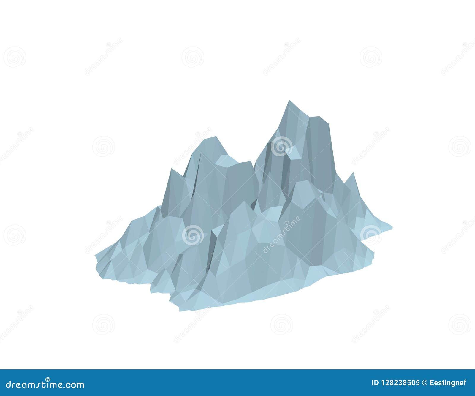 Iceberg Aislado en el fondo blanco ilustración del vector 3d