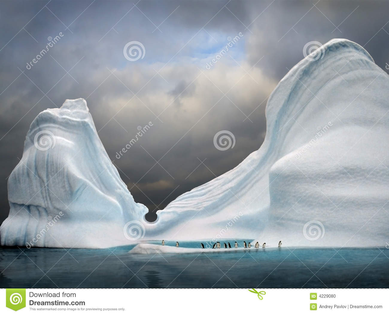 Iceberg com pinguins