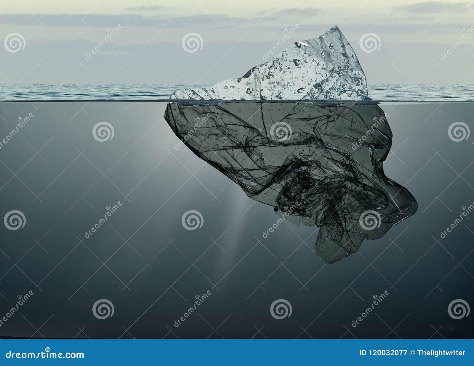 Iceberg do plástico do lixo que flutua no oceano com greenland para trás