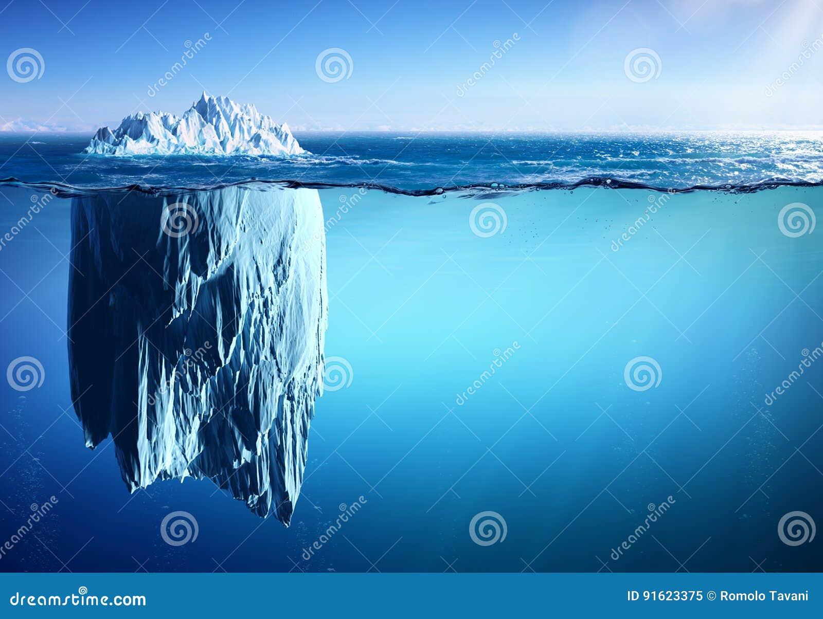 Iceberg flottant sur la mer - aspect et réchauffement global