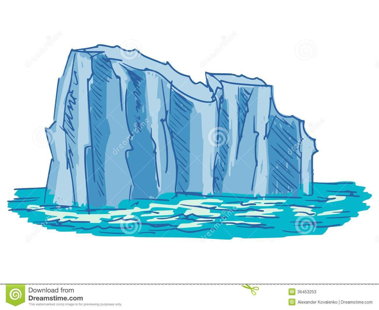 Hand drawn, cartoon, sketch illustration of iceberg.