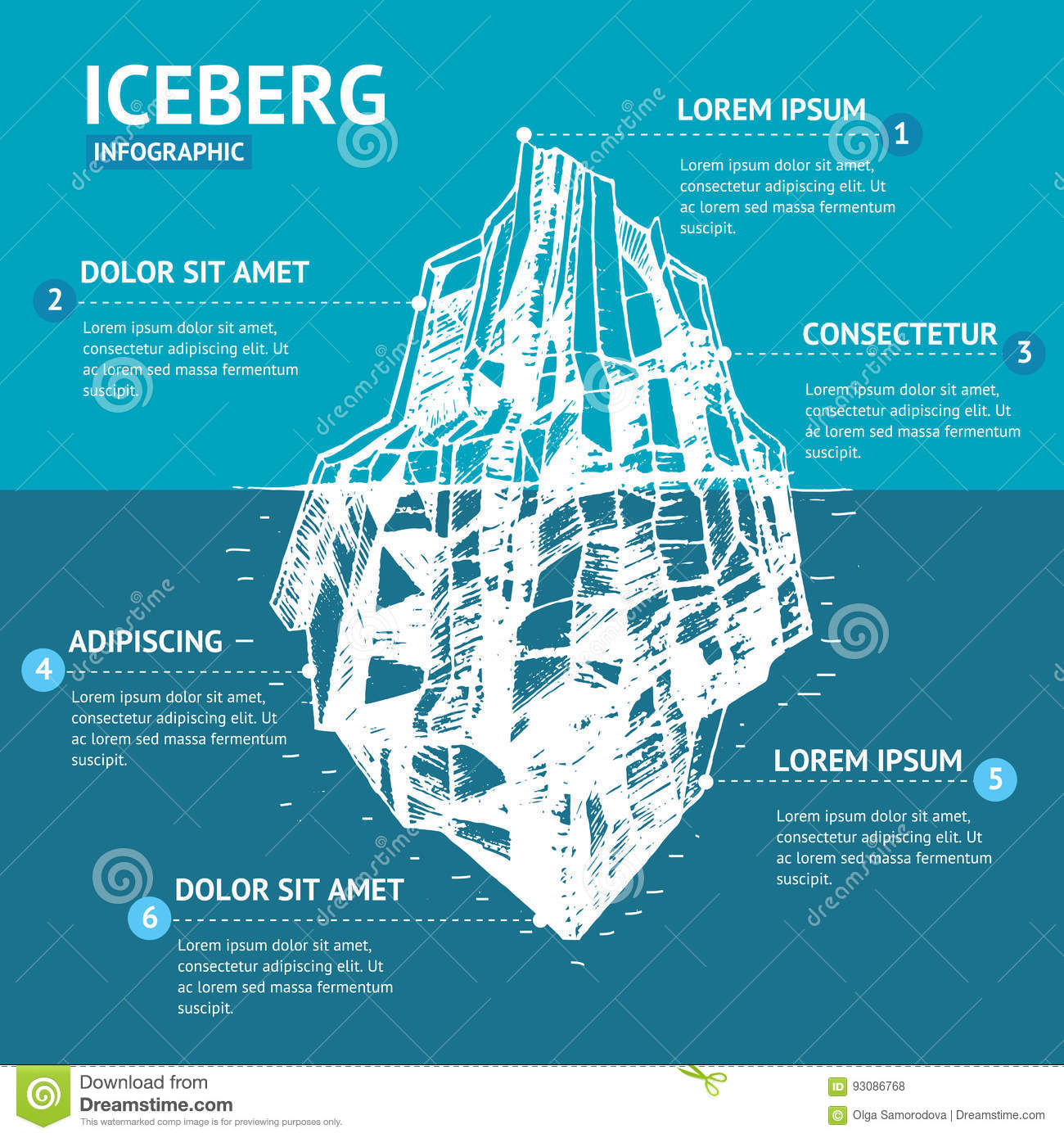 Iceberg Infographic Menu Hand Draw Sketch. Vector