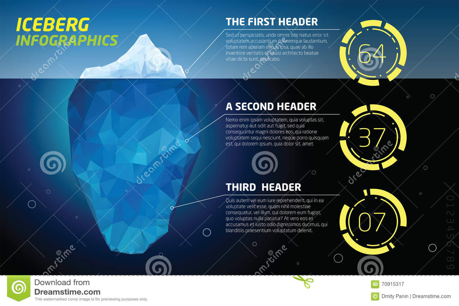 iceberg infographics ice and water sea stock image