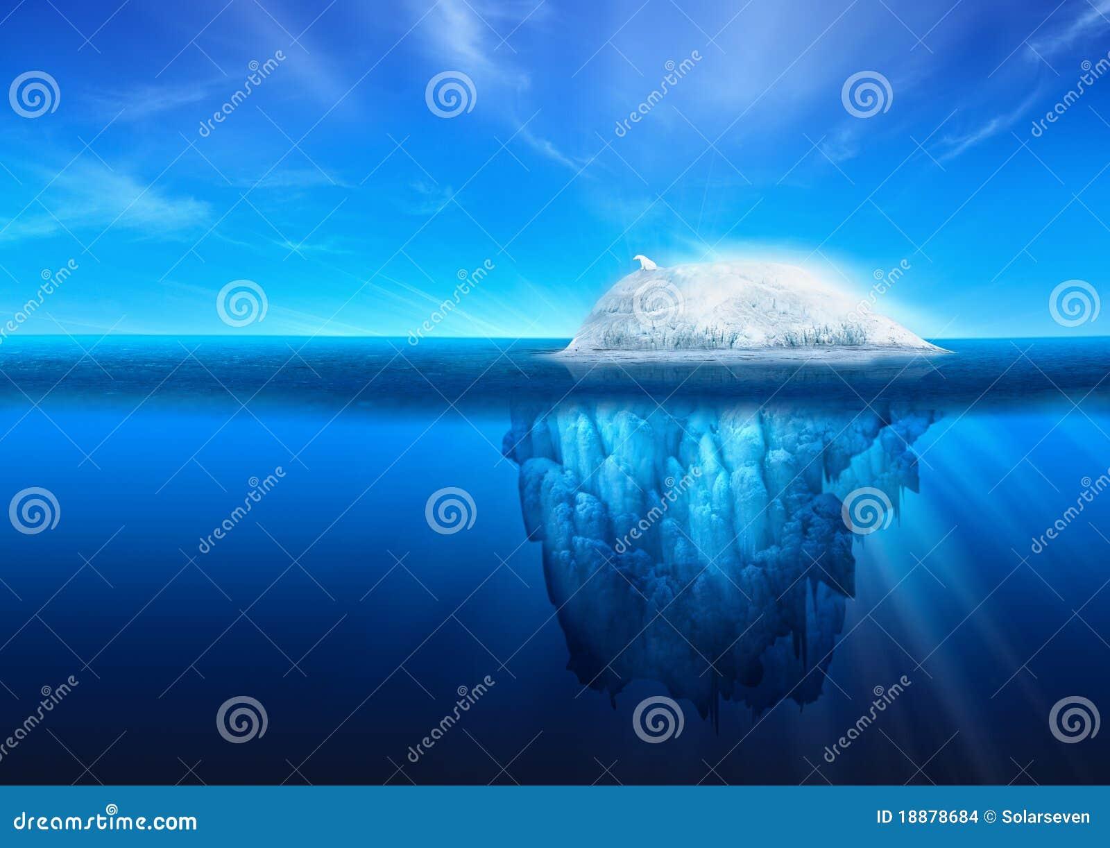 Iceberg natural con el oso polar