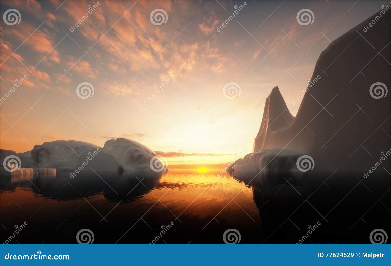 Iceberg nel tramonto