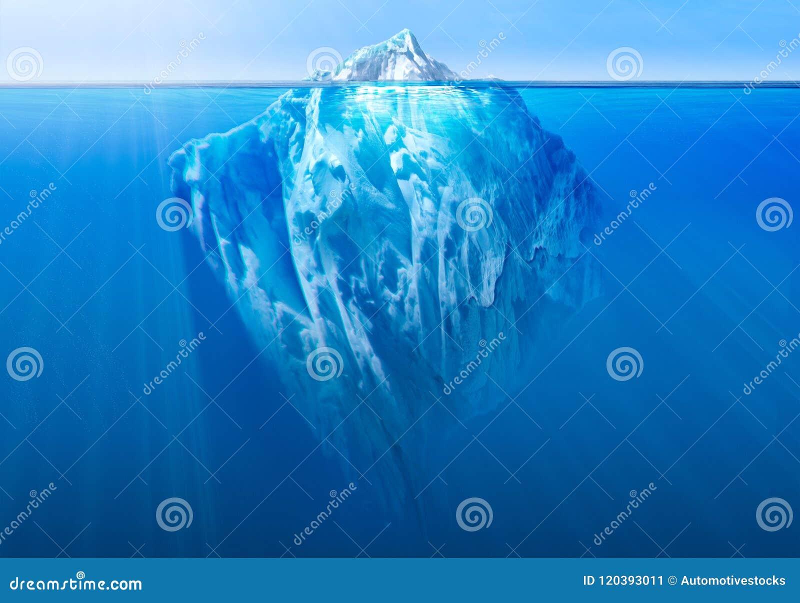 Iceberg nell oceano con la parte subacquea visibile illustrazione 3D