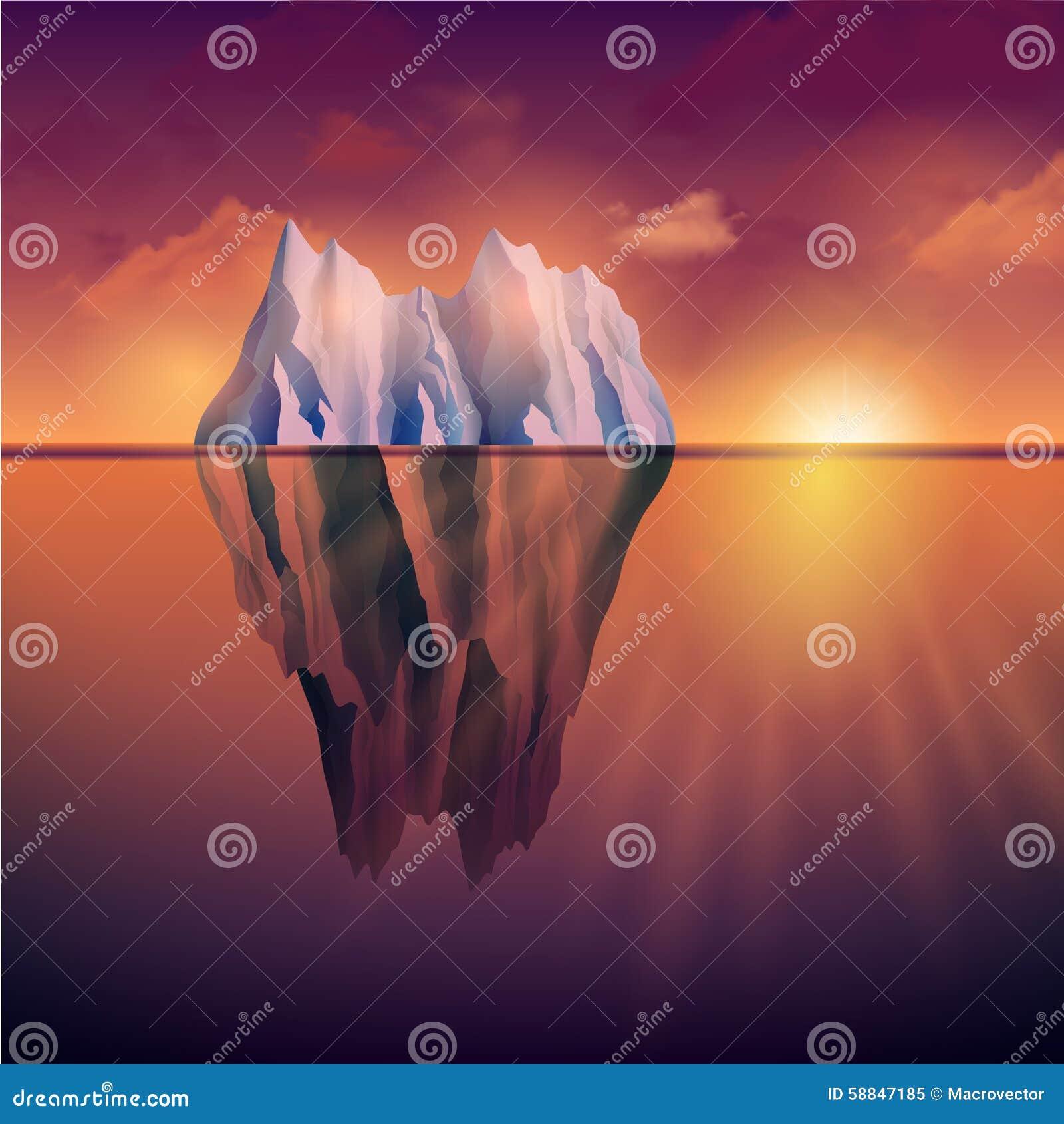 Iceberg no por do sol