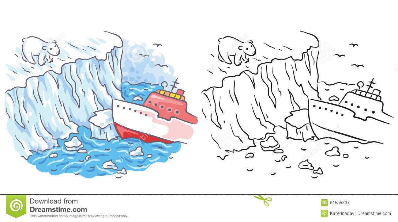 icebreaker meets a polar bear in the arctic both colored