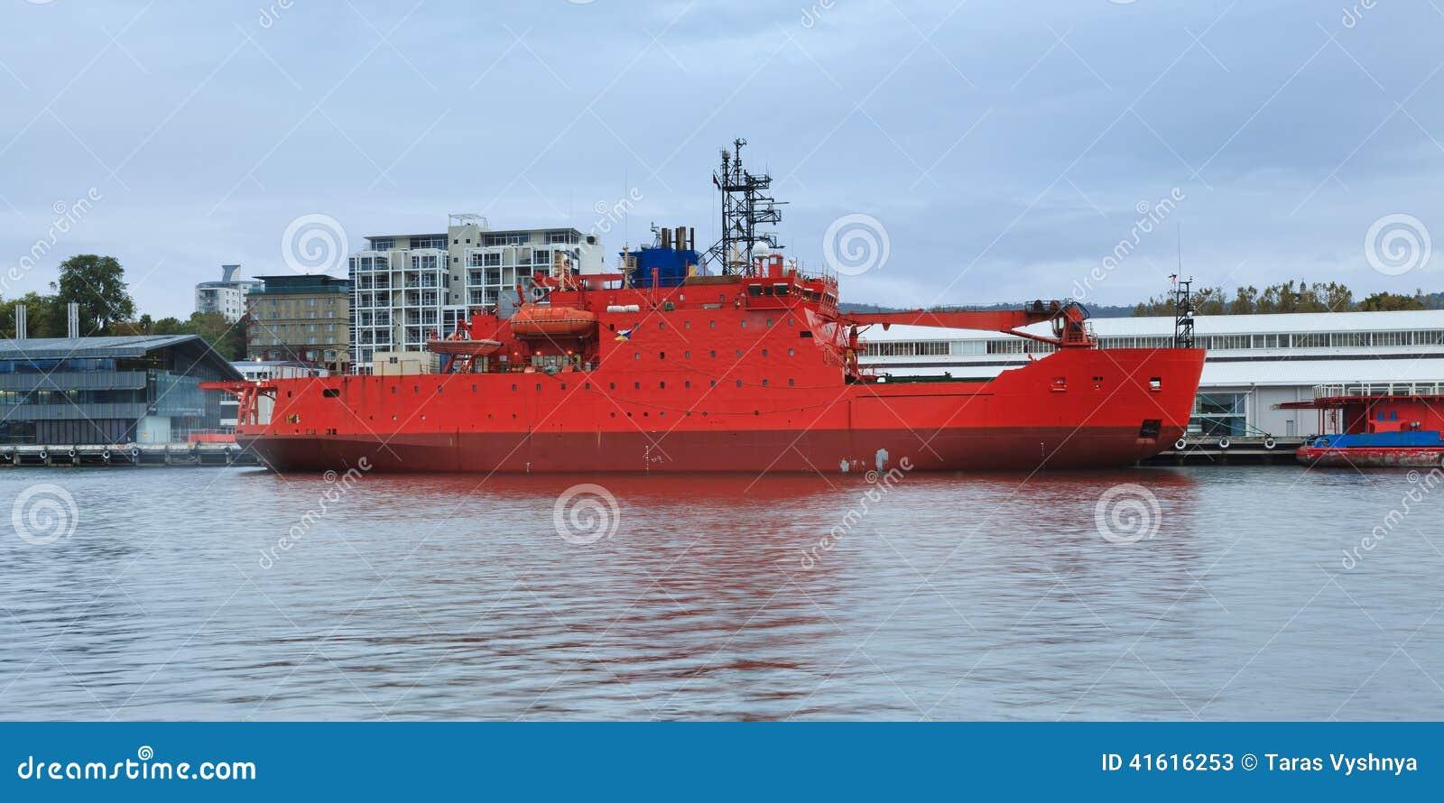 Icebreaker Red Hobart stock image  Image of commercial