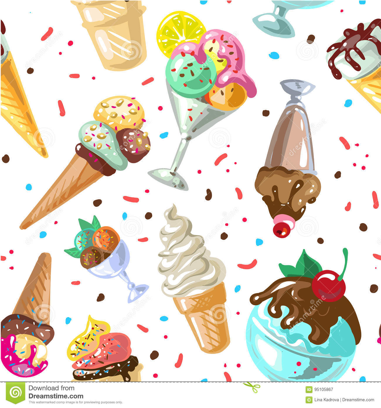 Pattern Cute Colorful Ice Cream Textiles Stock Vector: Icecream Seamless Pattern Design Vector Isolated On White