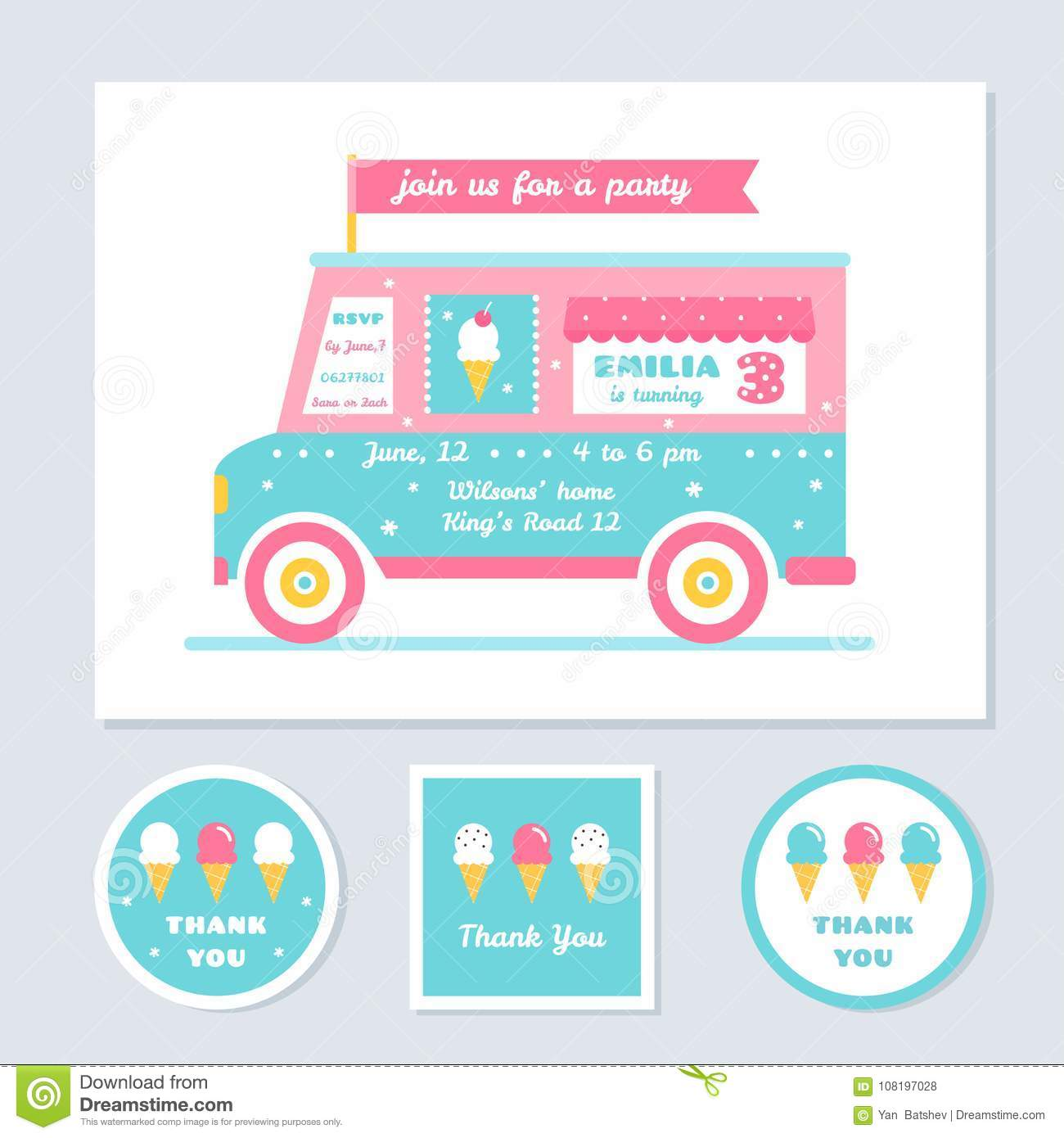 icecream truck vector kids party invitation and thank you cards