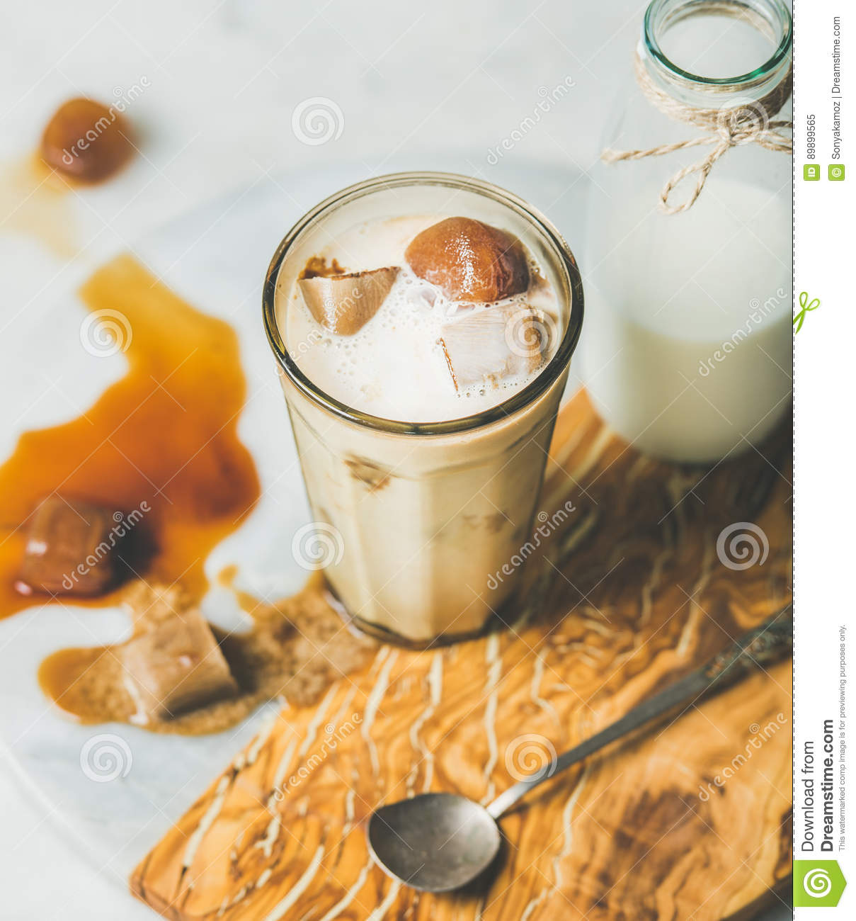 Iced Caramel Latte Coffee Cocktail With Milk, Frozen