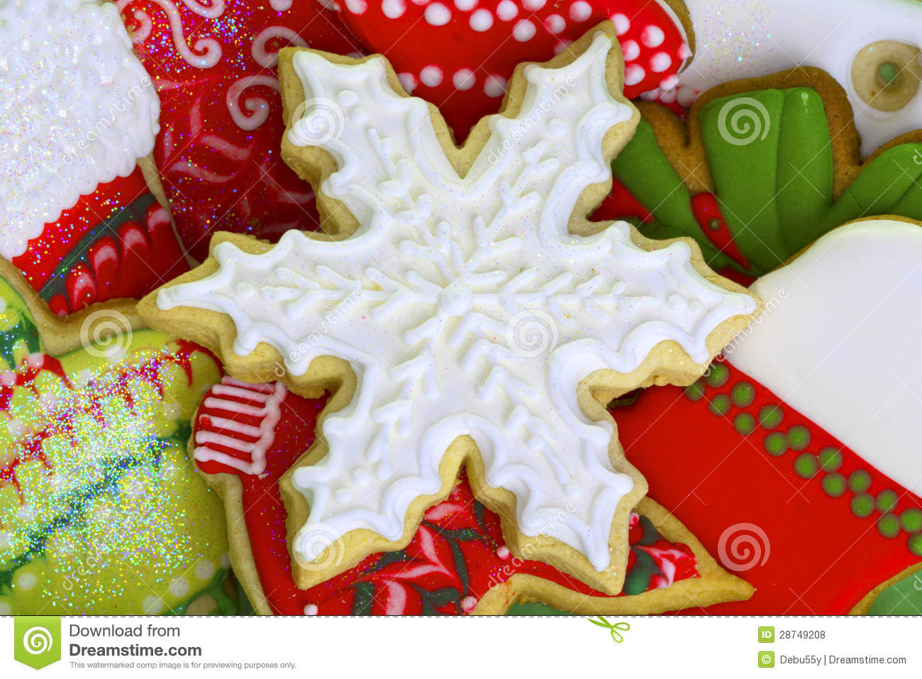 Iced Christmas Cookies. stock photo. Image of decoration - 28749208