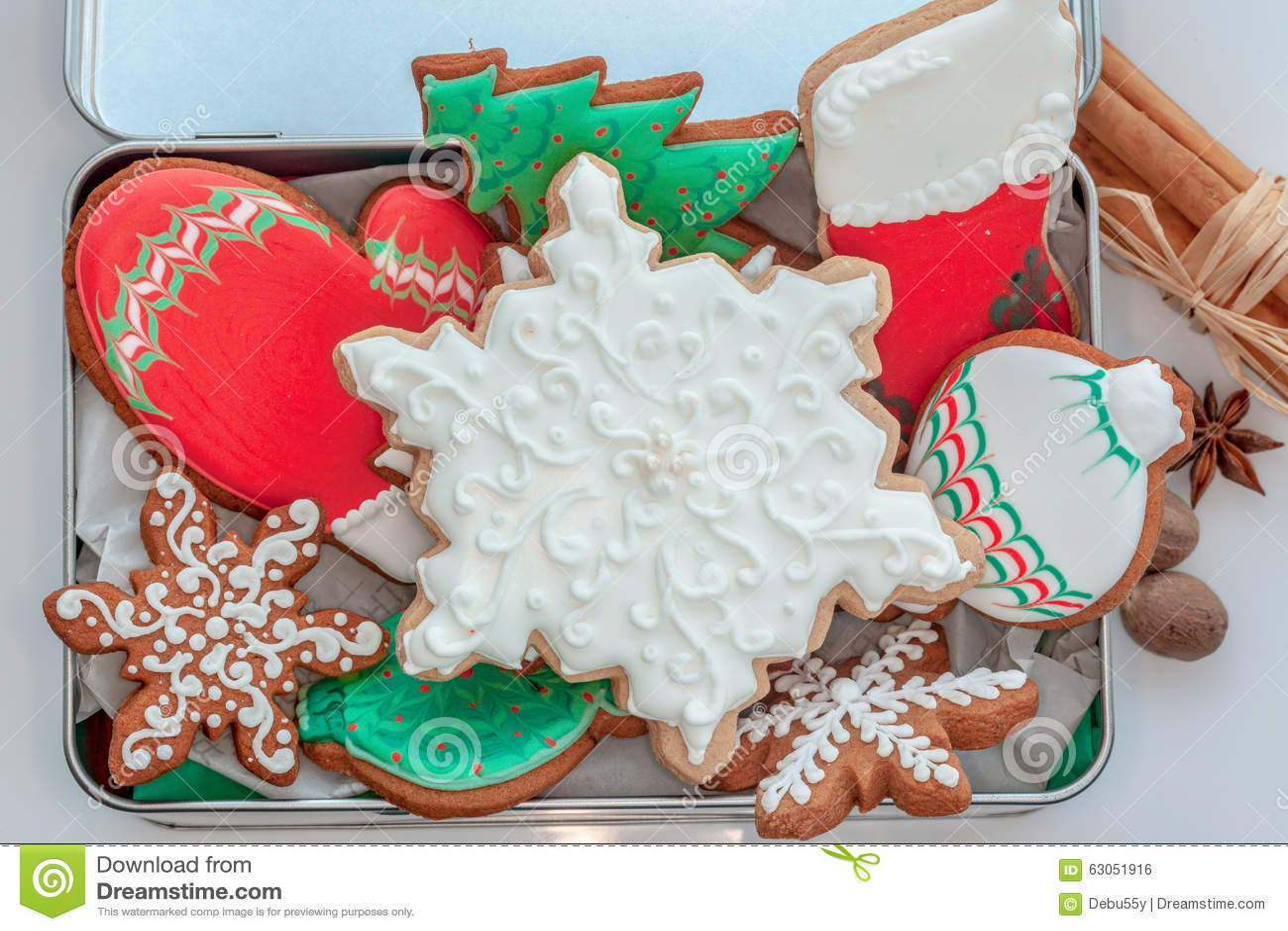 Iced Christmas Cookies. stock photo. Image of homemade - 63051916