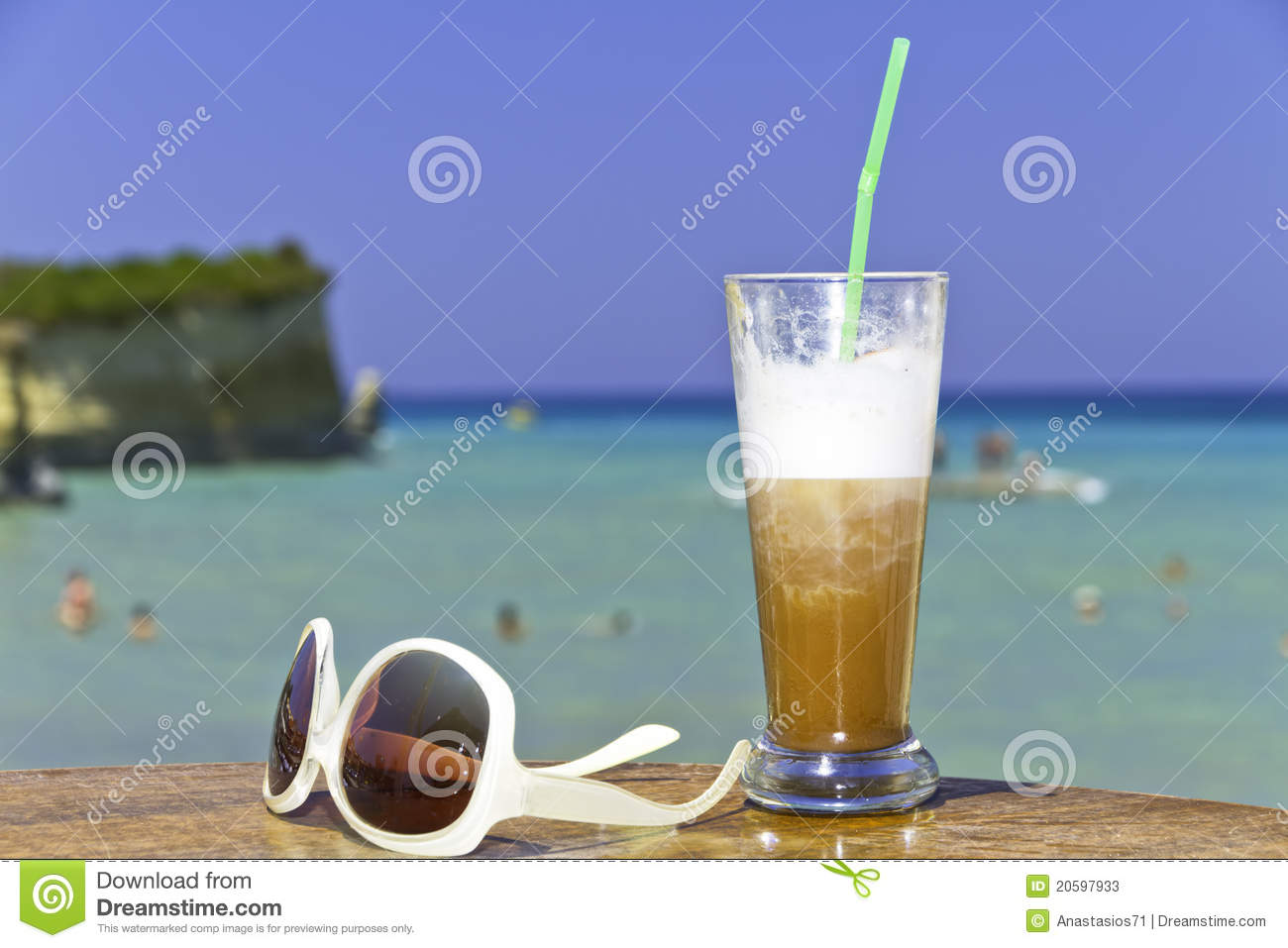 Iced coffee in an exotic beach