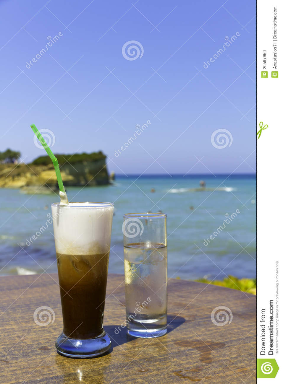 Iced Coffee In An Exotic Beach Stock Photo - Image: 20597950