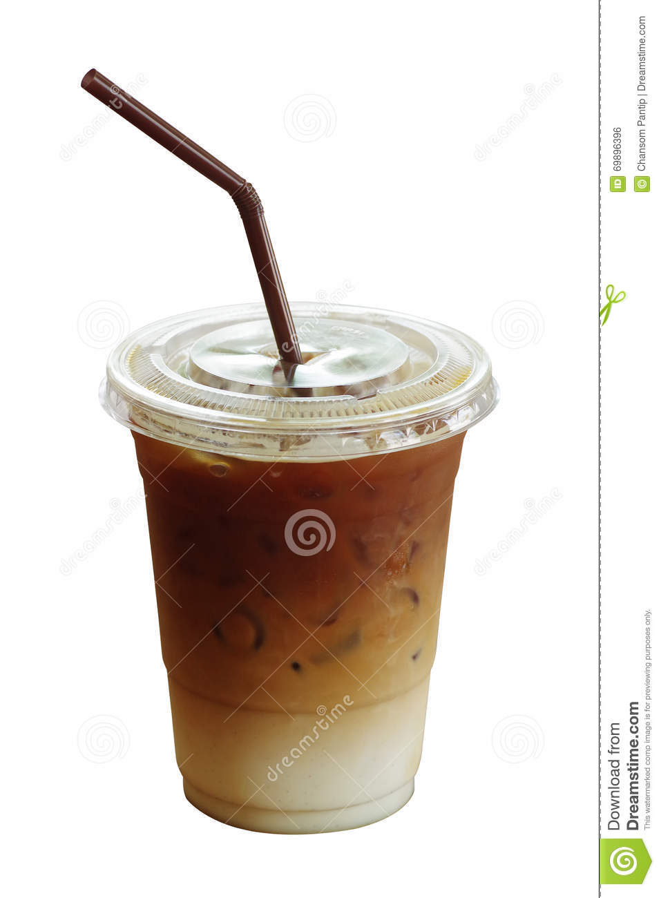 Iced Coffee Latte In Plastic Cup Isolated On White ...