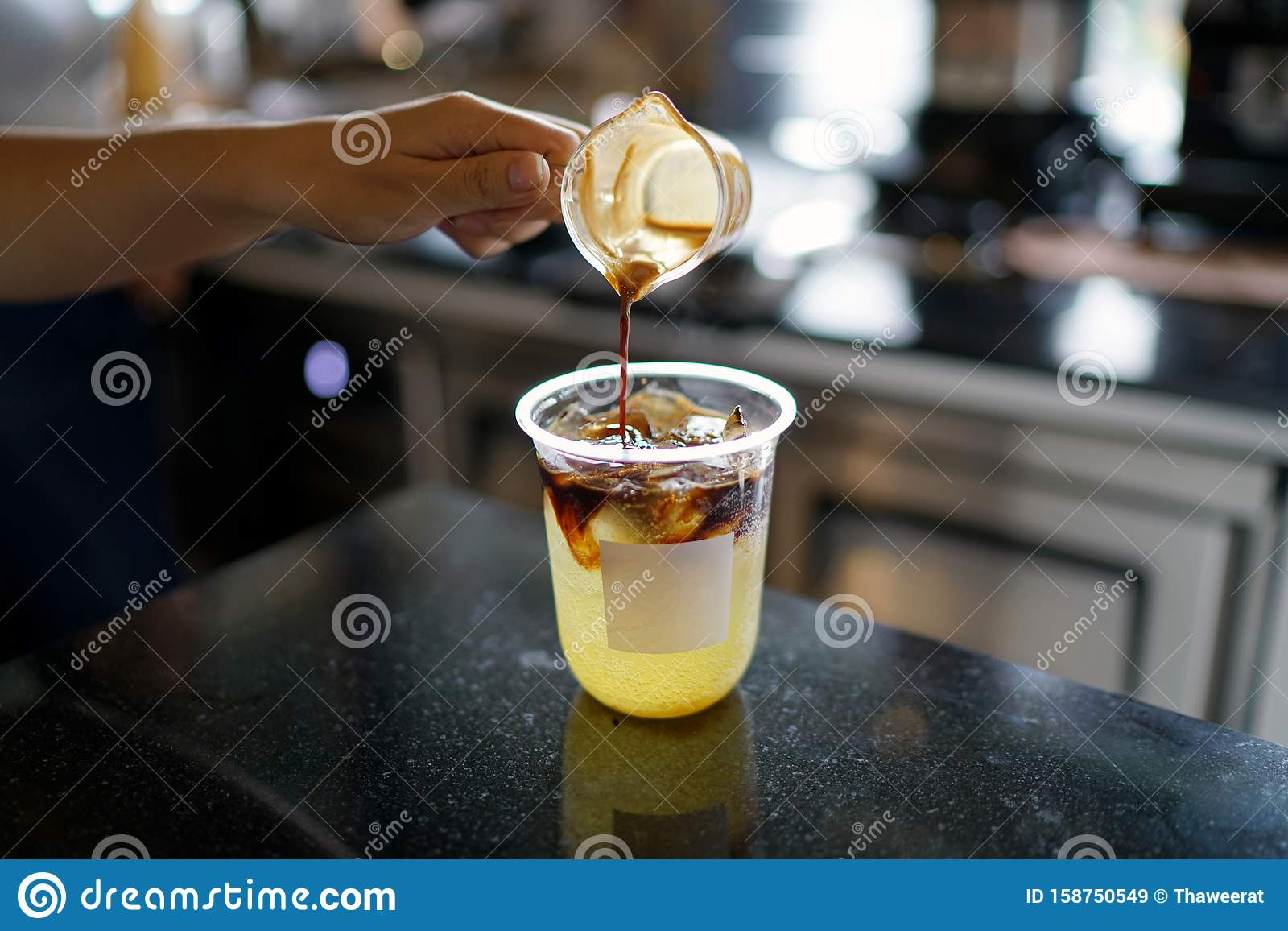 Iced Coffee With Orange - A Plastic Glass Of Americano ...