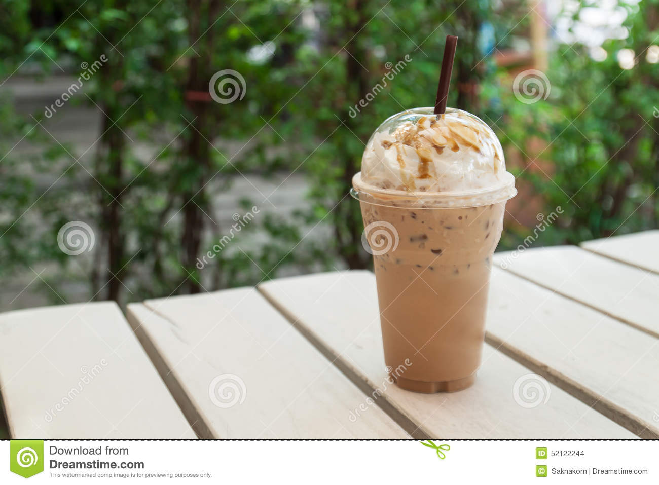Iced Coffee In Plastic Cup Stock Photo - Image: 52122244
