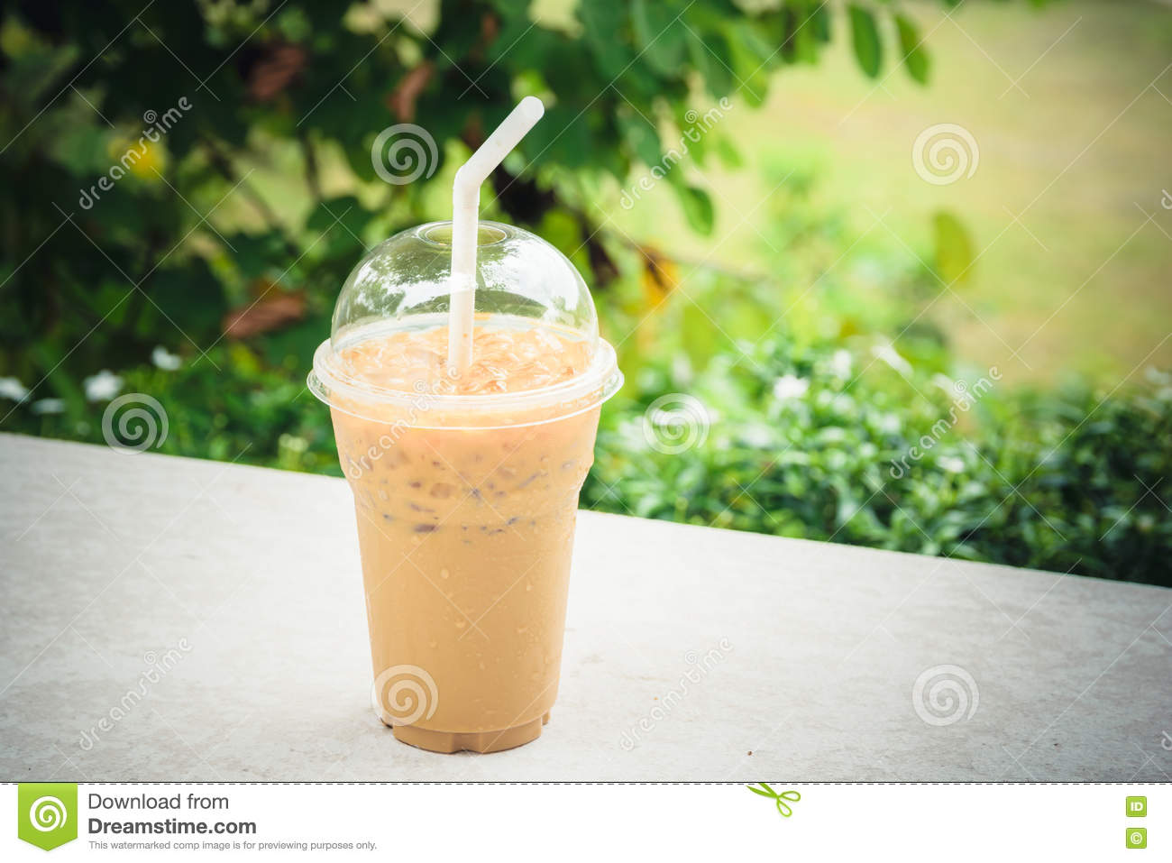 Iced Coffee Plastic Cup For Take Away To Go On Wooden ...