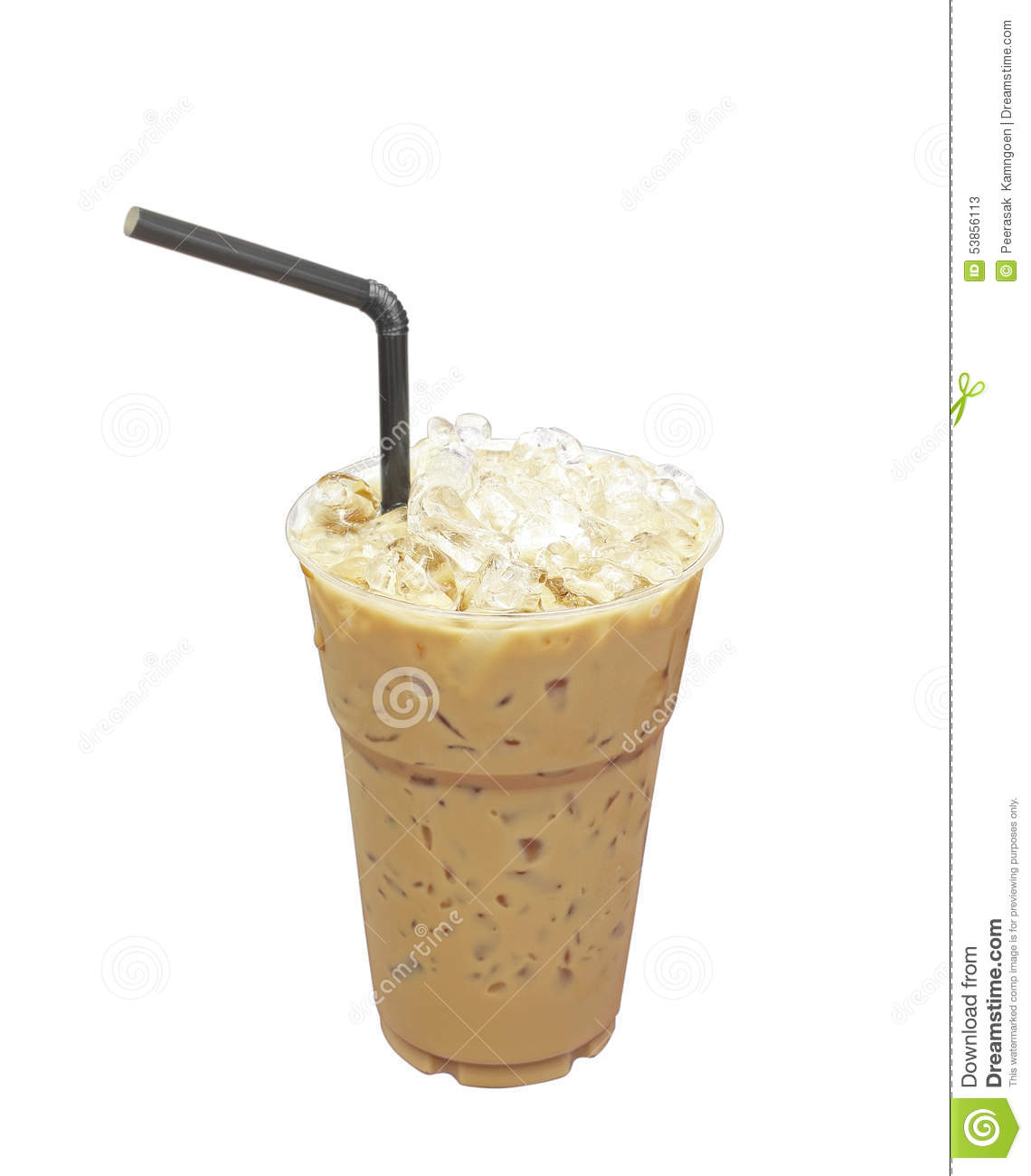 Iced Coffee With Straw In Plastic Cup Isolated On White ...