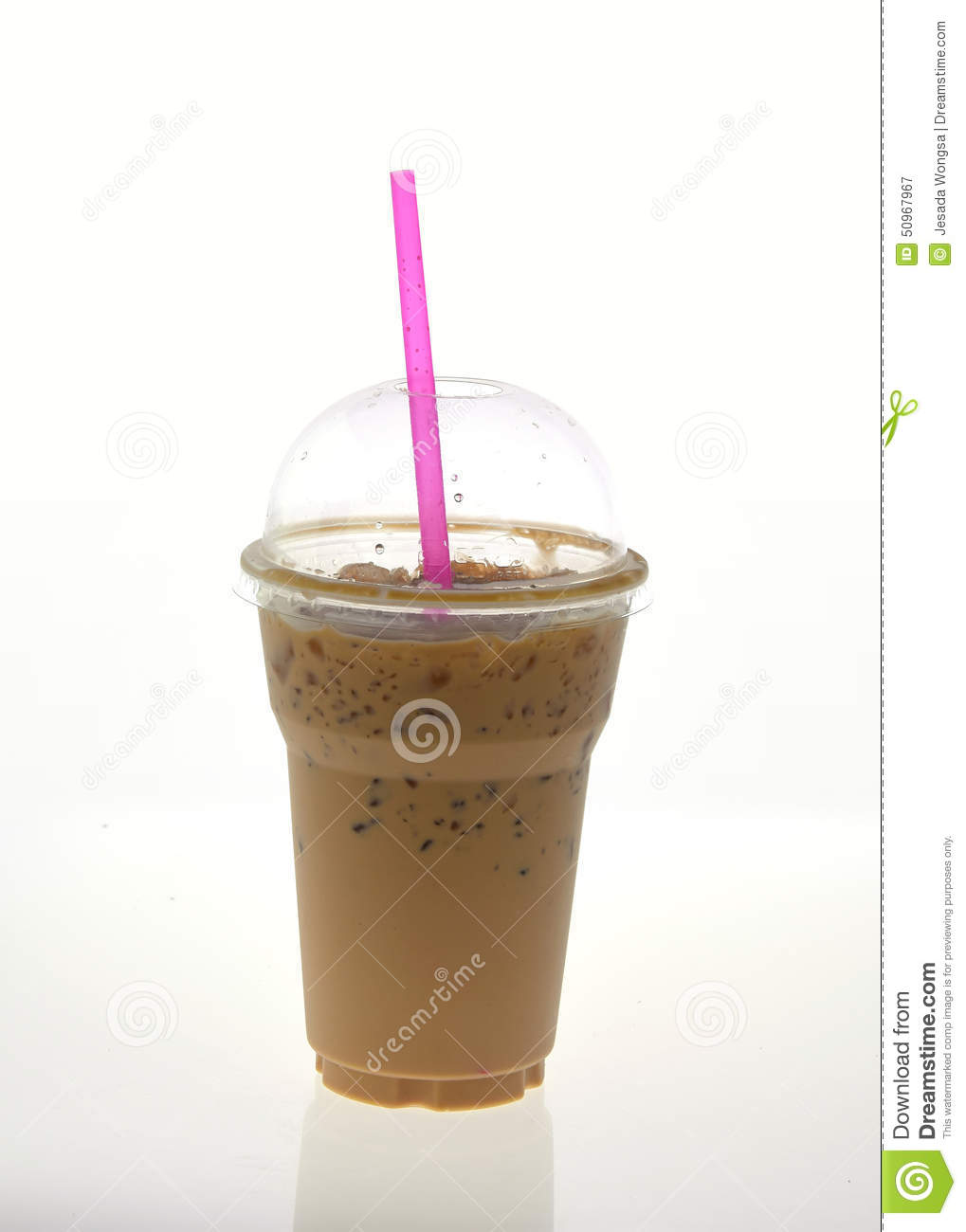 Iced Coffee With Straw In Plastic Cup On White Background ...