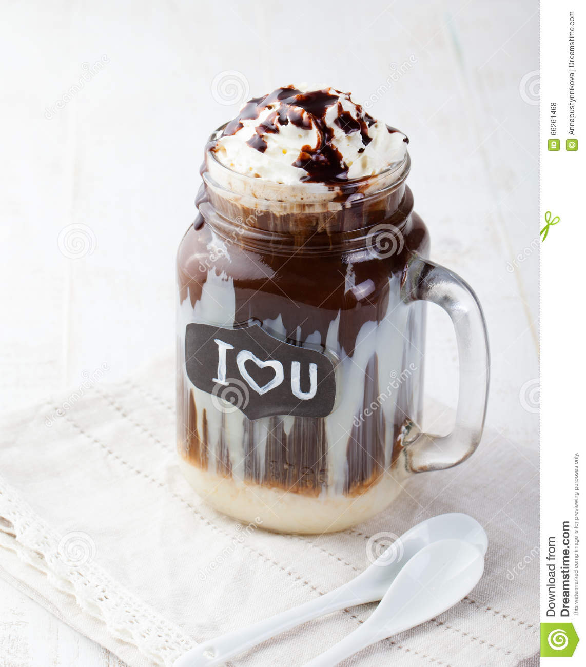 Iced Cold Coffee Frapuccino With Whipped Cream And