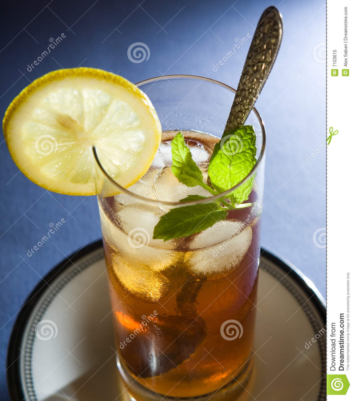 Iced Tea With Mint And Lemon Stock Image - Image: 7103615