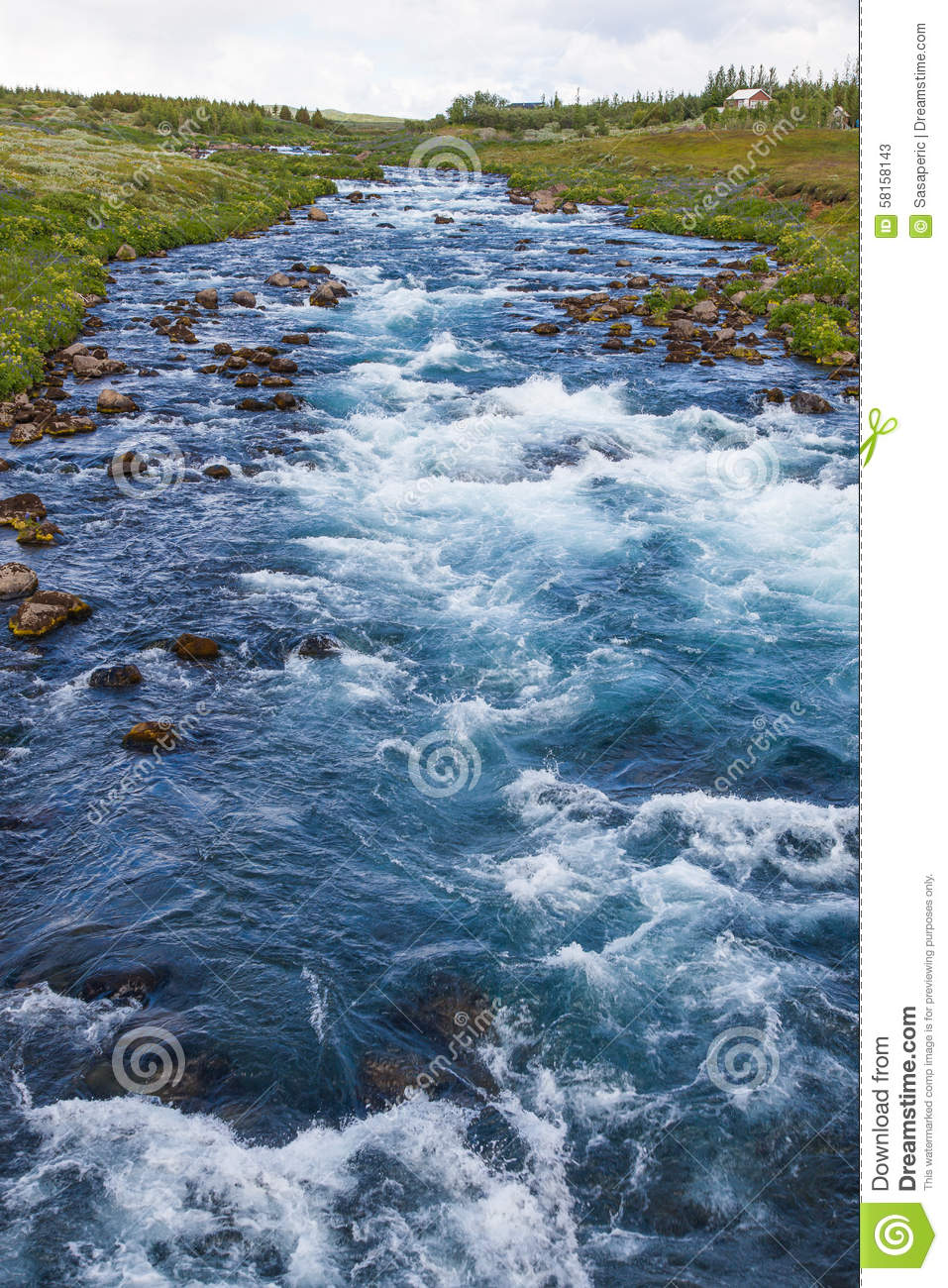 Iceland Blue River Water Stream Stock Image - Image of beauty ... on