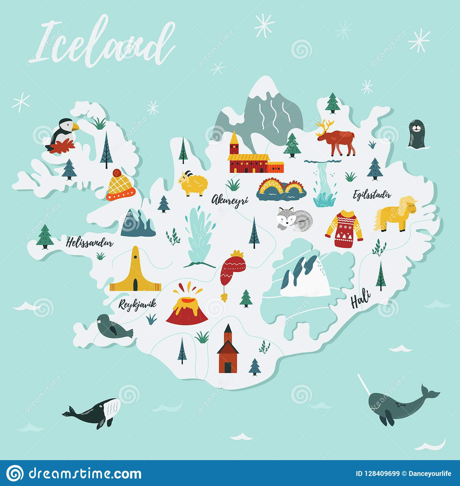 Iceland cartoon vector map. Travel illustration