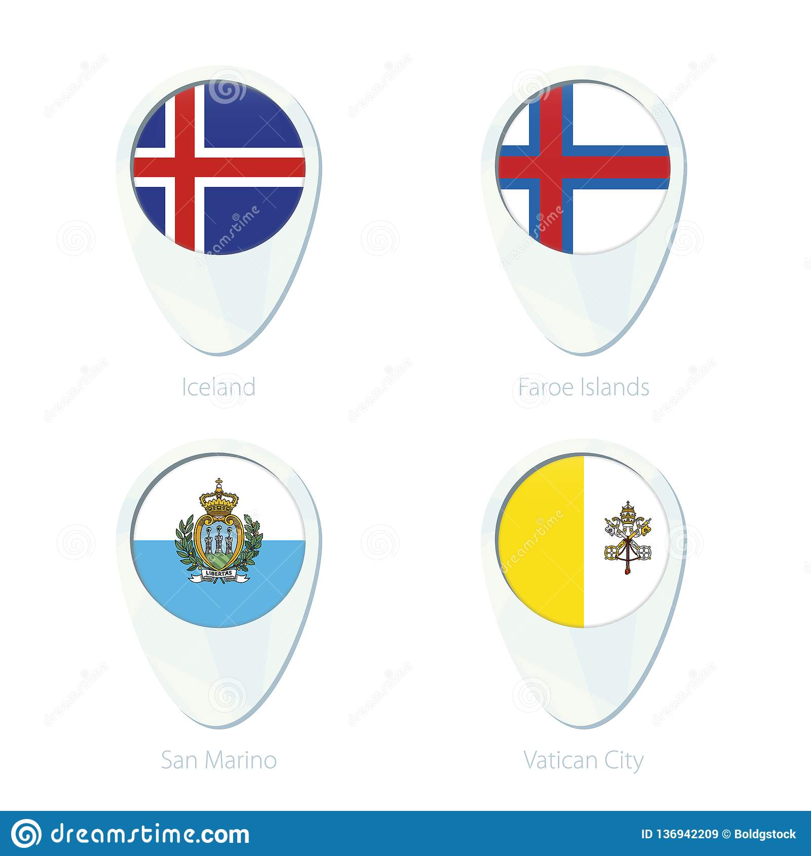 Iceland, Faroe Islands, San Marino, Vatican City Flag Location Map ...