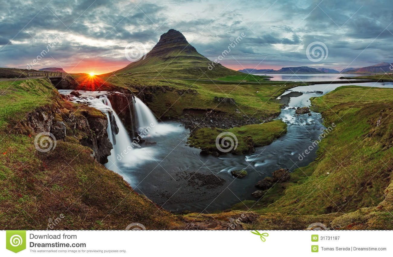 Iceland Landscape spring panorama at sunset