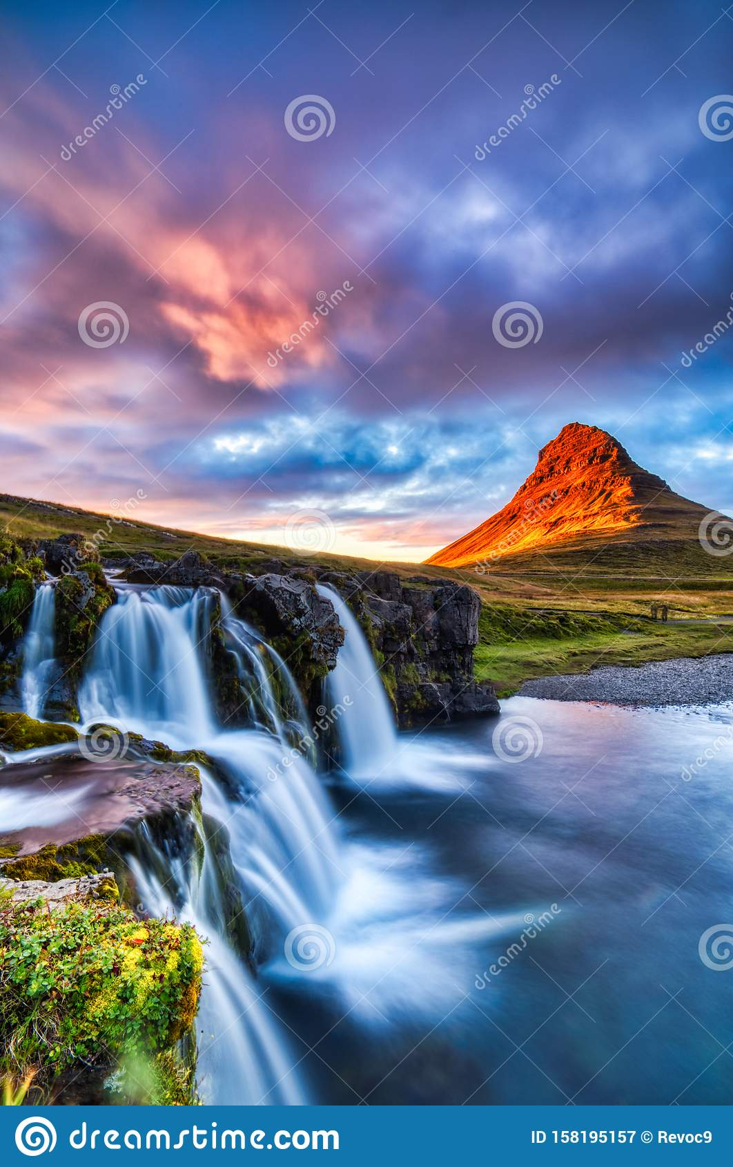 7x10 FT Vinyl Photography Background Backdrops,Waterfall Kirkjufellsfoss in The Mountains Iceland Picture Magical Night Background for Graduation Prom Dance Decor Photo Booth Studio Prop Banner